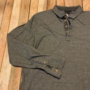Ted Baker long sleeve heather gray polo size 5
